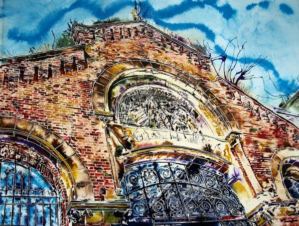 Painting looking up at the Brickwork and firsherman freize on Manchester Fish MarketManchester Fish Market - ©2017 Cathy Read - Watercolour and acrylic ink - 56 x 76cm - £1200 framed