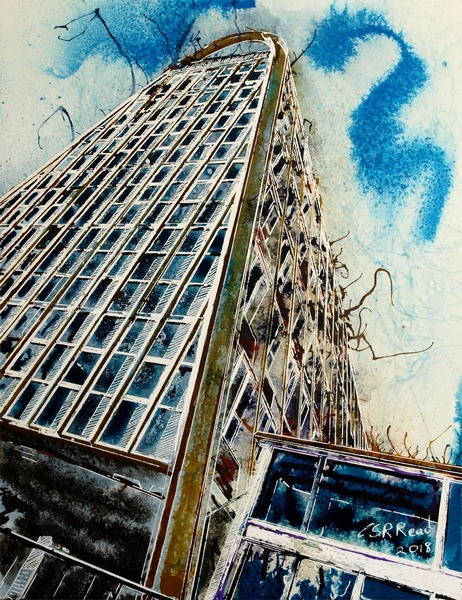 Painting of the Hollings Building ManchesterToast Rack Towers ©2018 Cathy Read - Watercolour and acrylic ink - 28x38cm - £330 framed