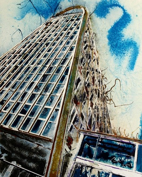 Painting of the Hollings Building ManchesterToast Rack Towers ©2018 Cathy Read - Watercolour and acrylic ink - 28x38cm