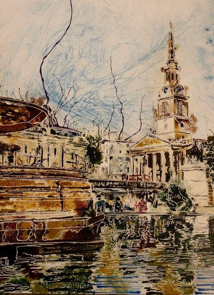 Painting of Trafalgar square and Trafalgar-Fountain and St Martin in the Fileds church London - ©2018-Cathy-Read-Watercolour-and-Acrylic-40-x-30-cm-£330