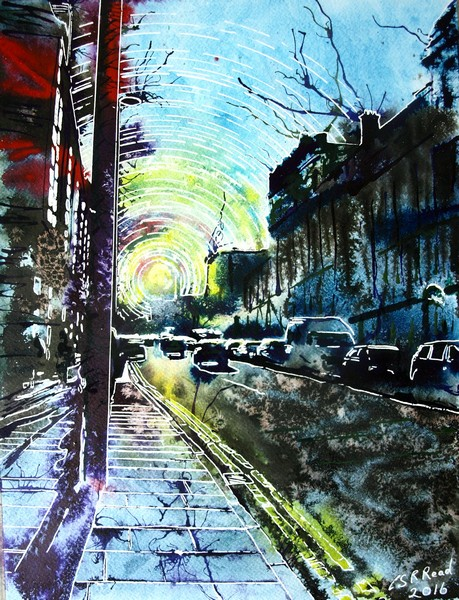 Painting of Deansgate in Manchester looking towards the setting sun Sunlit-Street - ©2016 Cathy-Read-Watercolour-and-Acrylic-30-40-cm-£330
