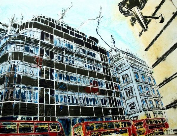 Painting of the Icon Daily Express building on Fleet StreetFleet Street Express Building - ©2016 Cathy Read -Watercolour and acylic ink - 56 x 76.5cm - £1200