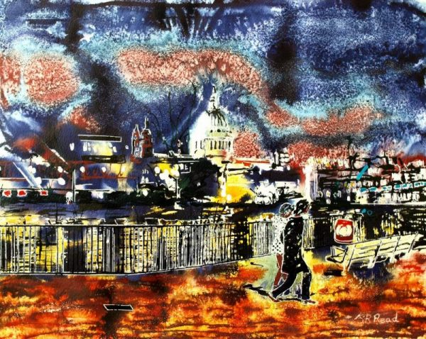 Painting of a couple walking along the South Bank of the Thames with St Paul's and the lights of London in the background.By the Light of St Pauls - ©2015 - Cathy Read - Watercolour and Acrylic - 40x50cm - £574