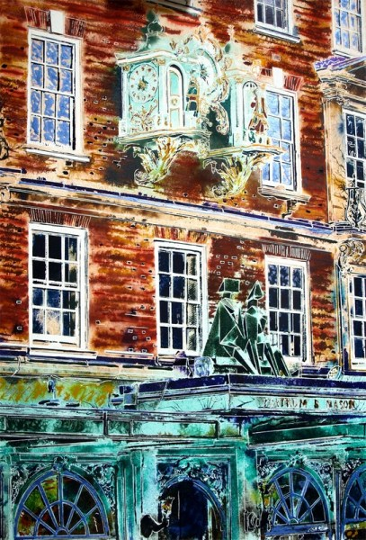 The frontage of Fortnum and Mason paintingfeaturing the clock and Lynn Chadwick Sculpture King and Queen-Cathy Read-81-x-61cm-£1357-©2018