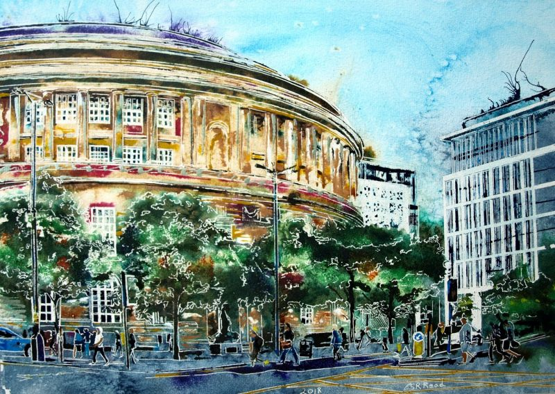 Painting of people passing Manchester Central Library on their wy homeHeading-home-by-the-Library-Cathy-Read-42.5-x-59-cm-£654-©2018