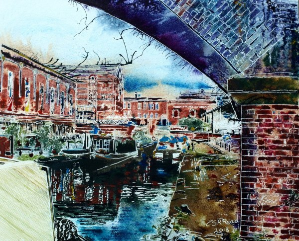 Painting of Castlefields Basin by Cathy Read showing the canal, canal boats and Museum of Science and Industry in Manchester-©2018- Watercolour and Acrylic Ink-£577