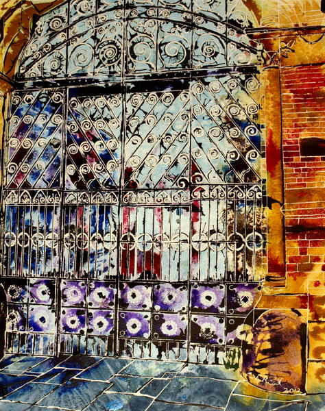 Painting of the gates of Manchester Smithfield Market now the Chinese Centre - Smithfield Wandering - ©2012 - Cathy Read - Watercolour and acrylic ink-50x40cm - SOLD
