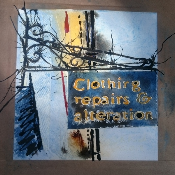 sewing shop sign painting 24 Shop Sign painting in progress -Cathy Read - ©2018 - Watercolour and Acrylic - 17.8x17.8cm - £154