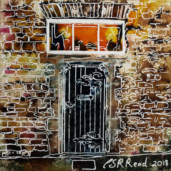 Painting of a Door in School lane Buckingham, part of the old school building.37 Robot Door- Cathy Read - ©2018 - Watercolour and Acrylic - 17.8 x 17.8cm - £154