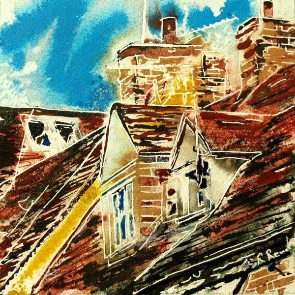 Painting of roof windows in Buckingham36 Dormer Windows - Cathy Read - ©2018-Watercolour-and-Acrylic-17.8x17.8cm-£154