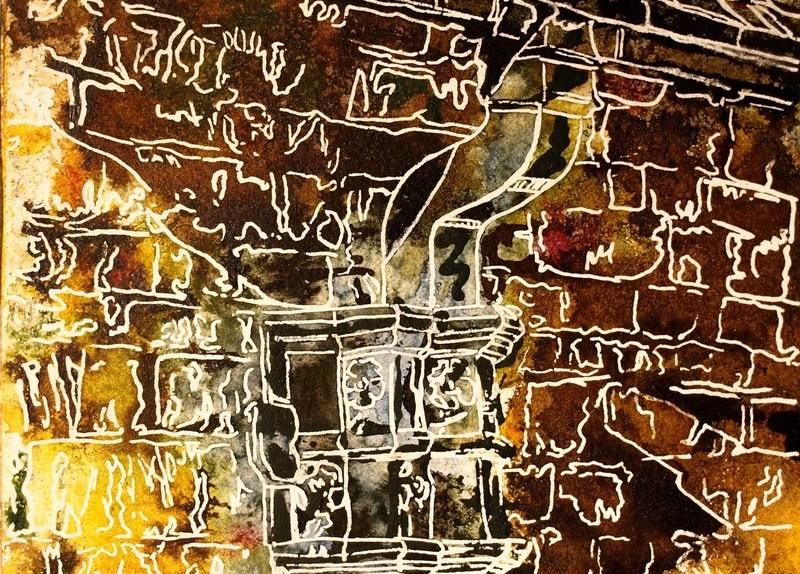 41 - Drainpipe - Cathy Read - ©2018 Watercolour and Acrylic - 17.8x17.8cm - £154