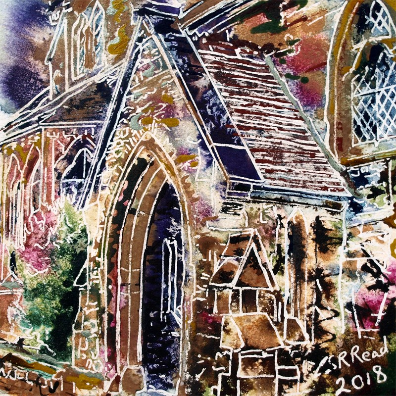 Painting of the porch of an old church in Buckingham42 - Porch - Cathy-Read- ©2018 - Watercolour and Acrylic - 17.8x17.8cm - £154