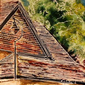 Painting of roof tiles on a house43 - Tiled Roof - Cathy Read - ©2018 - Watercolour and Acrylic - 17.8x17.8cm