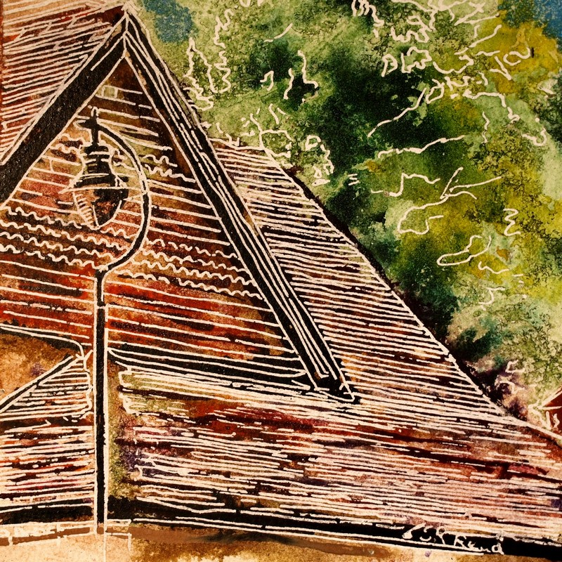 Painting of roof tiles on a house43 - Tiled Roof - Cathy Read - ©2018 - Watercolour and Acrylic - 17.8x17.8cm - £154