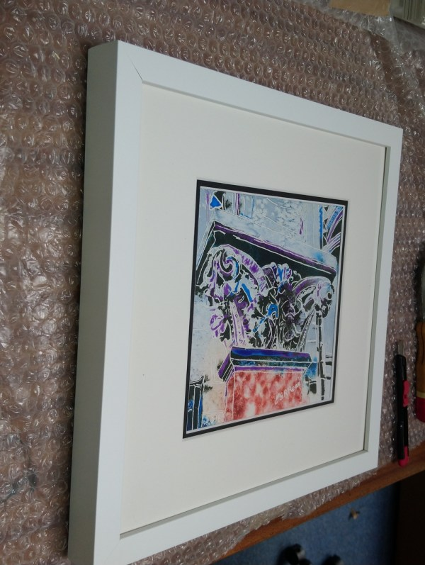 Capital Detail - ©2018 - Cathy Read - Watercolour and Acrylic - 17.8x17.8cm front of framed picture
