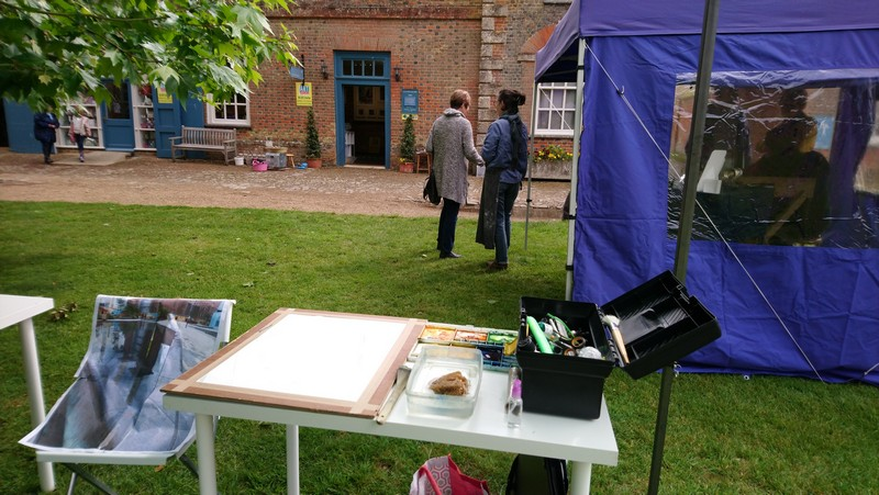 Picture of artist set up at Claydon Courtyard for Bucks Art Weeks 2019. Painting in progress Battersea Reflections -©2019- Cathy Read -Watercolour and Acrylic WIP