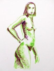 Desenho de modelo feminino nu em pastel oleoso, realizado durante Prática de modelo vivo com Rafa Coutinho e Laerte no espaço Breu em 2019.