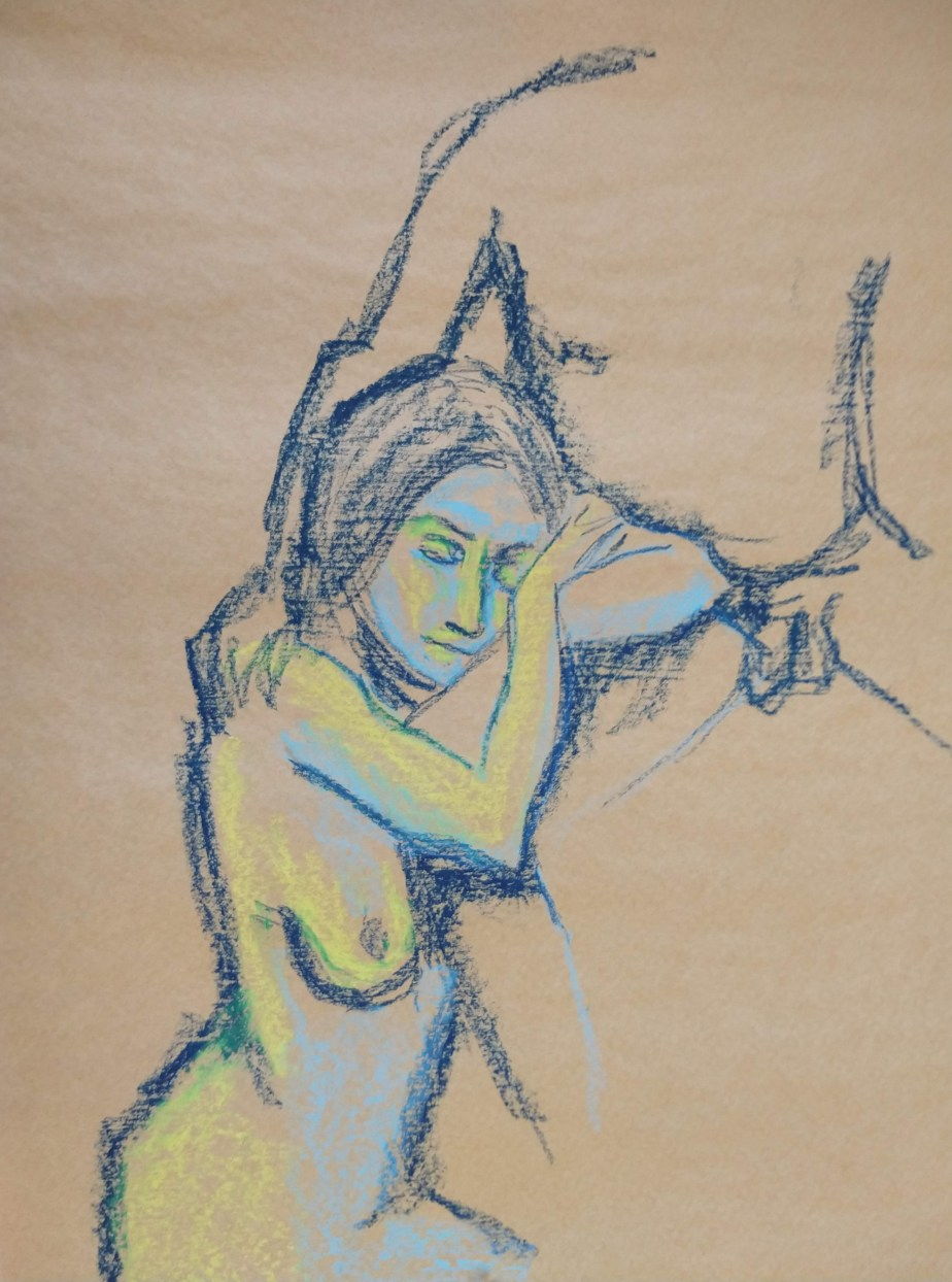 Desenho de modelo masculino  e feminino nu, em pastel oleoso, realizado durante Prática de modelo vivo com Rafa Coutinho e Laerte no espaço Breu em 2018.