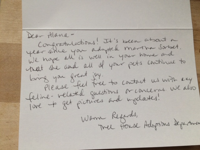 note from tree house adoption