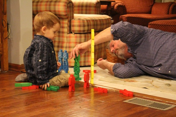 Then built towers with Opa,