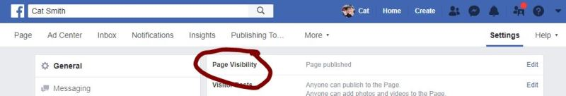 How do I know if my Facebook Page is published?
