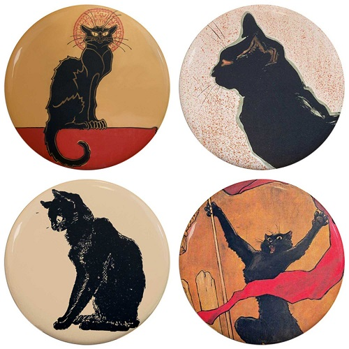 "Henry the Buttonsmith Steinlen Les Chats Noir Black Cats 1.25"" Refrigerator Magnet Set"