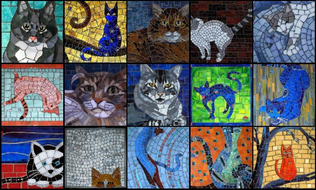 cat mosaic art