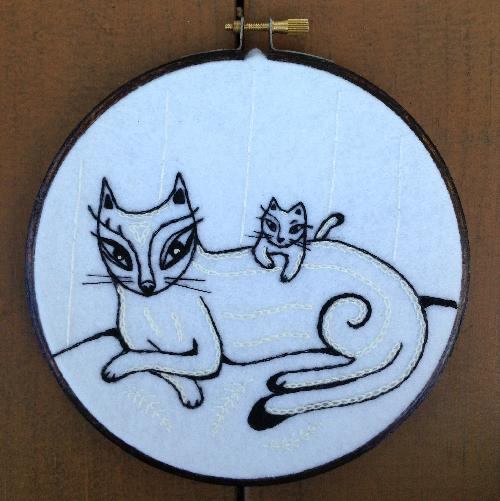 cats in repose embroidery