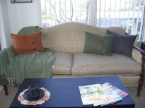 My Great-Grandmother's couch provides a perfect base for my color pallet.