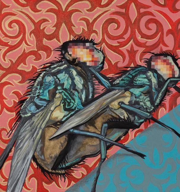 """Death & Disease Copulating: Afternoon Delight #5,"" 2011, 18"" x 22, Oil paint, metallic/iridescent pigment on panel."""