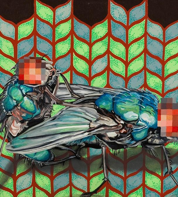 """Death & Disease Copulating: Afternoon Delight #3,"" 2011, 18"" x 22"", Oil paint, metallic/iridescent pigment on panel. ."