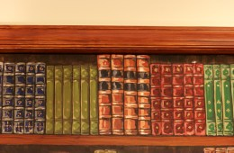 "Trompe L'oeil Book Shelf (DETAIL), 2012, 8'6"" x 7'8"" (each side.) Galloway Ridge Health Facility, Pittsboro, NC. Acrylic on metal doors, sealed. Commissioned by: Weaver Cook Construction."