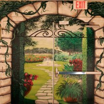 """Trompe L'oeil Garden Scene, 2012, 8'6"""" x 7'8"""" (each side.) Galloway Ridge Health Facility, Pittsboro, NC. Acrylic on metal doors, sealed.  Commissioned by: Weaver Cook Construction."""