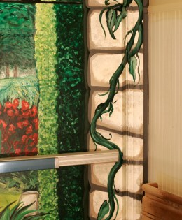 """Trompe L'oeil Garden Scene (DETAIL), 2012, 8'6"""" x 7'8"""" (each side.) Galloway Ridge Health Facility, Pittsboro, NC. Acrylic on metal doors, sealed. Commissioned by: Weaver Cook Construction."""