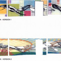 Raynham Dog Track Mural (SKETCHES), Sketches for proposed Raynham Dog Track Lobby Mural. Scaled drawings, colored pencil on paper. Commissioned by: J. Brice Design Intl.