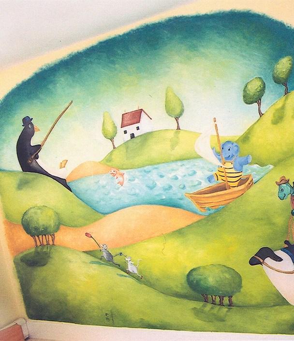 Animal Fishing Village Mural. 10' x 8'. Residence, Boston, MA. Acrylic paint.