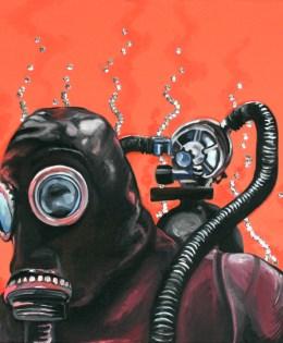 "Down Under Above, 2012, Oil paint, latex paint, sequins sewn onto canvas.  20"" x 20"" x 2"""