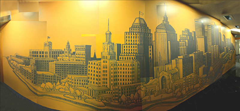Turner Construction Mural, 2002. 34' x 8'.  Lobby Mural, World Trade Center East Bldg., Boston, MA. Acrylic paint.  	Commissioned by: Visnick & Caufield Architects + Interior Design.