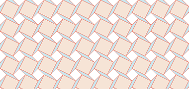 Pattern created with squares and lozenges on a square grid moved by three units