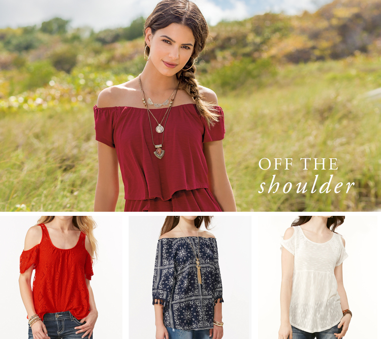 Off the Shoulder. Examples shown.