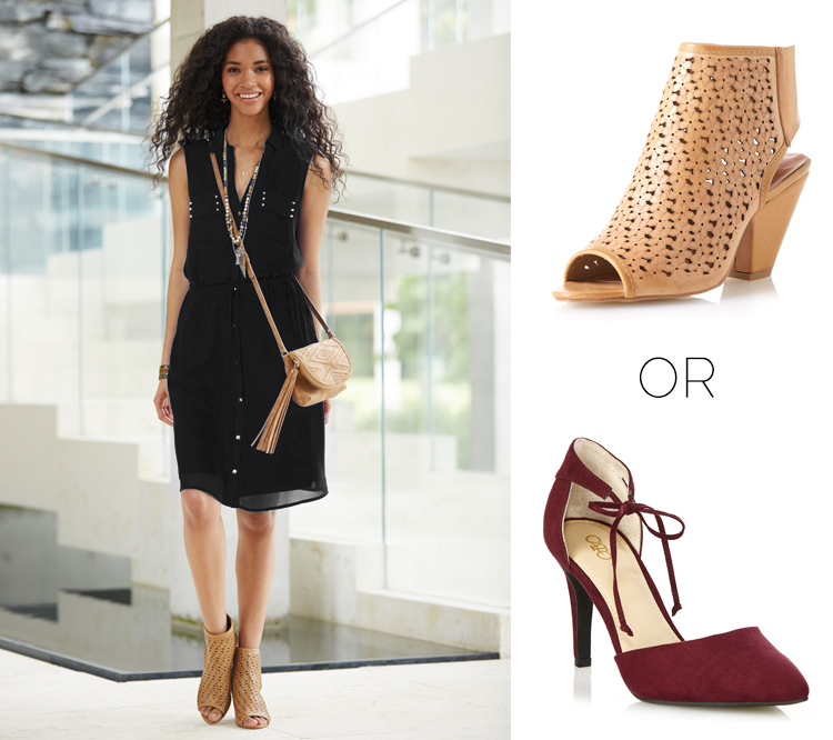 The Shirt Dress styled with booties or heels.