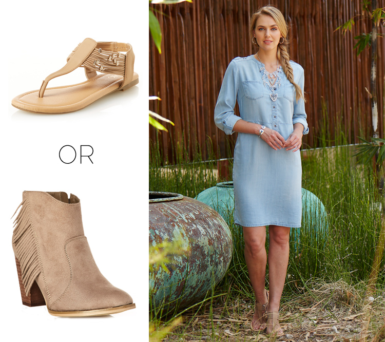 The Chambray Dress styled with sandals or booties.