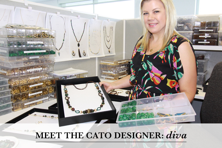 Meet the Cato Designer: Diva. Diva showing off some of her necklace designs at her desk.