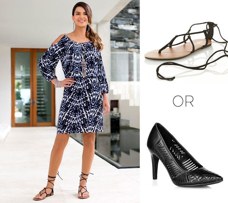The Cold shoulder dress styled with sandals or heels.