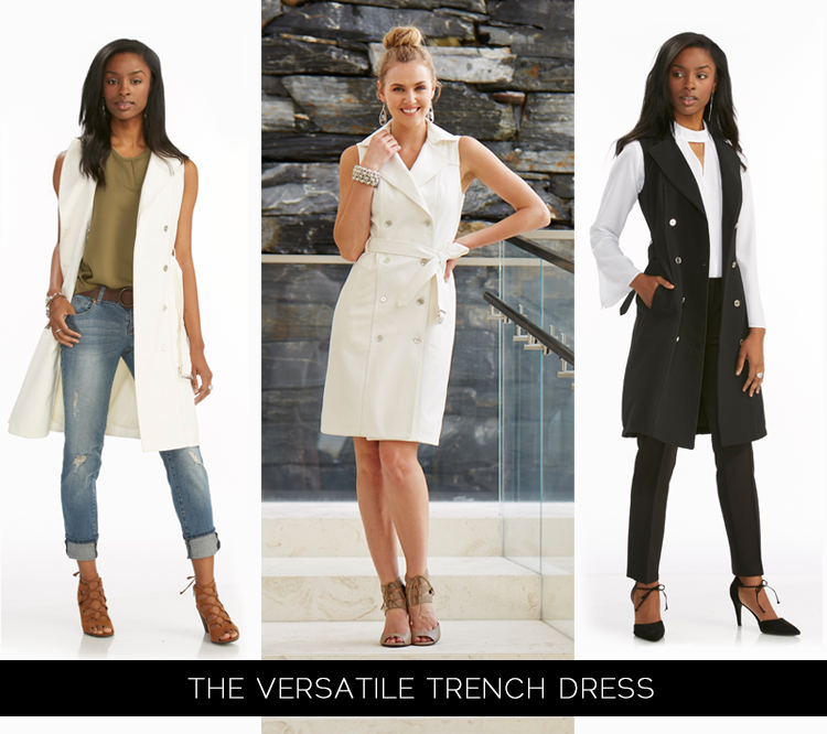 Ther Versatile Trench Dress Styled opened and with jeans, closed as a dress and open again as a vest with black skinny pants.