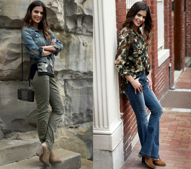 Camoflauge top styled with a denim jacket and olive green utilitarian pants and another camo inspired blouse with flare jeans.