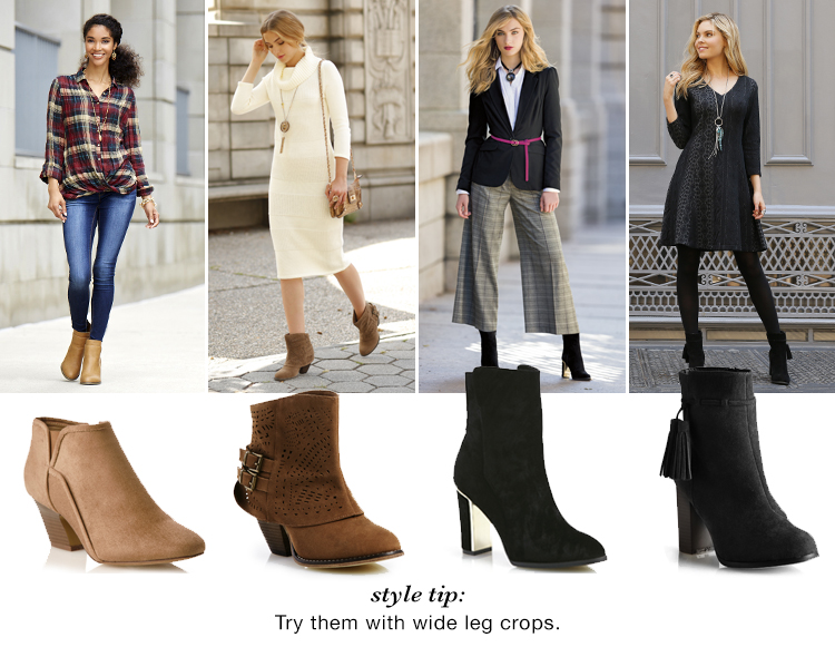 Style Tip: Try them with wide leg crops. Ankle boots shown with wide leg crops.