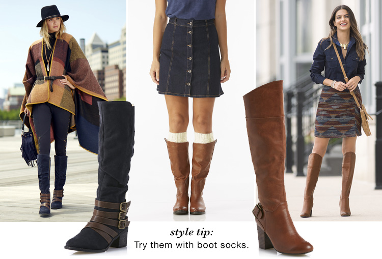 Style Tip: Try them with boot socks. Examples of boots with socks shown.