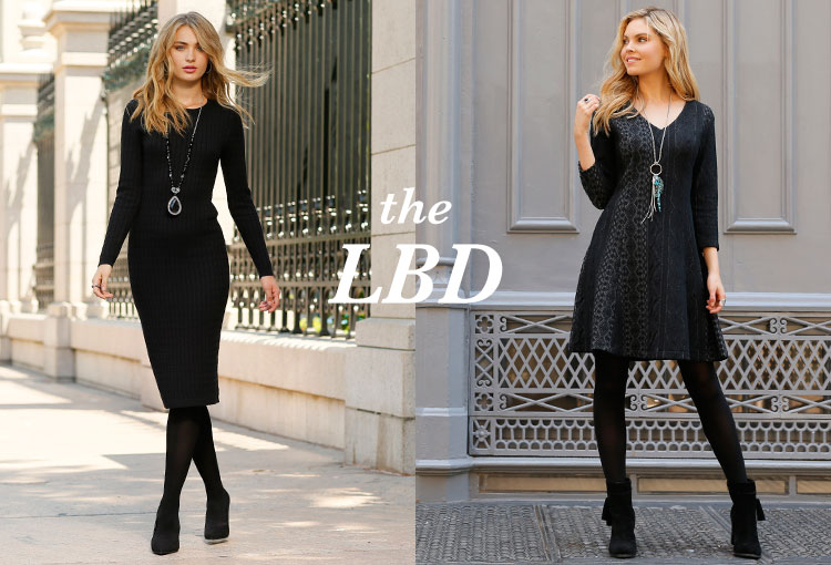The Little Black Dress. Two women showing off their black dresses.