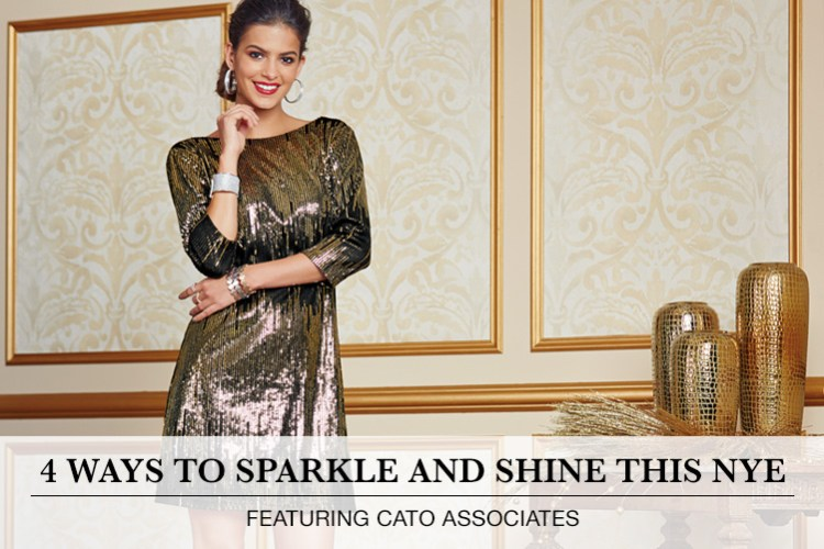 4 Ways to Sparkle and Shine this NYE: Featuring Cato Associates. A woman is pictured wearing a sequin dress